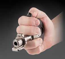The pistol is fired by squeezing the hand.